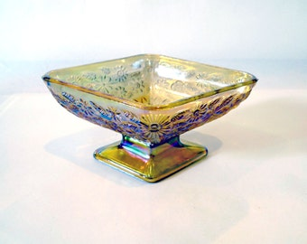Vintage Amber / Rainbow Iridescent Pearlescent Glass Candy Dish