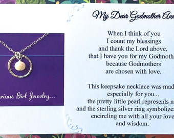 GODMOTHER Gift Godmother Necklace w/ choice of POEM Card Genuine PEARL Gift for Godmother Jewelry Sterling Silver Gift from Goddaughter /son