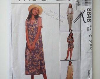 Teacher dress /90s jumper /jumper dress / elastic waist pants /90s vest /1993 sewing pattern, Sizes 10 12 14, Bust 32 34 36, McCalls 8846