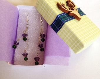 Scottish Thistle Crystal Earrings