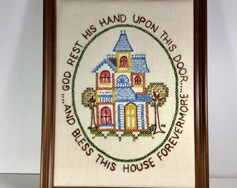Vintage embroidered sampler hand made God Rest His Hand upon This Door