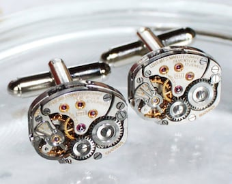 LONGINES Steampunk Cufflinks - Luxury Swiss Silver Vintage Watch Movement - MATCHING Men Steampunk Cufflinks Cuff Links Men Fathers Day Gift