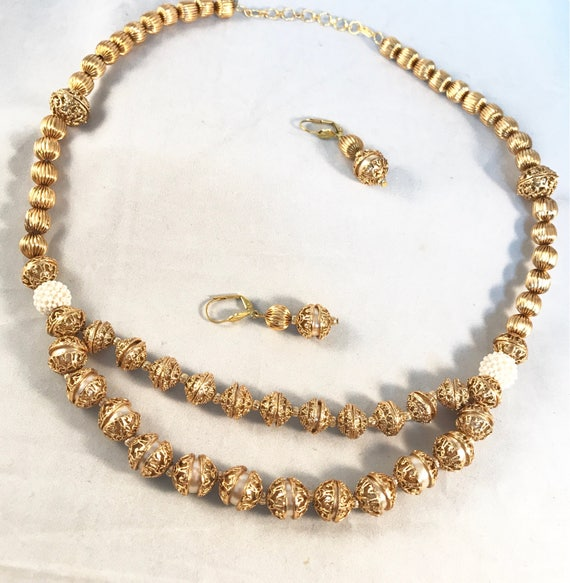 Faux Gold and pearl traditional Indian style Mala Necklace and earrings .