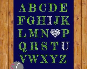 Alphabet I Love You Art ABC coeur pépinière chambre Art marine bleu anis vert enfant imprimable 11 x 14 numérique JPG Téléchargement instantané (14)