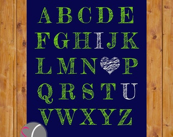 Alphabet I Love You Art ABC Heart Nursery Bedroom Art Navy Blue Lime Green Toddler Printable 11x14 Digital JPG  Instant Download (14)