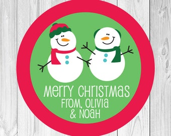 Snowmen Stickers, Personalized Christmas Gift Labels, Snowman Christmas Stickers, Personalized Holiday Gift Tags