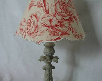 "Light patina with lampshades ""flowers on Ecru canvas"""