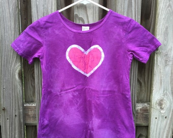 Purple Girls Dress, Girls Purple Dress, Girls Heart Dress, Back to School Dress, Girls Play Dress, Cotton Girls Dress, Batik Girls Dress (6)