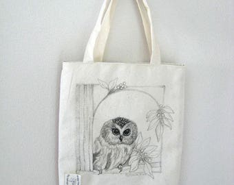Original pen ink drawing on SMALL fabric tote bag, gift bag, teacher gift bag, owl