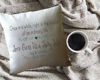 Love gives us a Fairy Tale decorative throw pillow cover, wedding gift,cotton  anniversary gift, personalized throw pillow