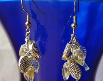 Green and silver leaf bead earrings with metal, glass and acrylic beads