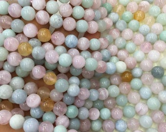 1Full Strand 8mm Multicolor Morganite Round Beads, Natural Morganite Bead, Round Morganite Beads, Morganite Gemstone For  Jewelry Making