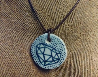 Hand Painted Cryatal Design Ceramic Pendant with Wood Cut Paisley Design on Reverse