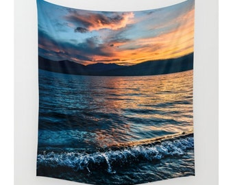 Wall Tapestry, Lake Tapestry, Wall Hanging, Coastal Waves Lake Reflection Sky Sunset Wanderlust, Wall Decor, Bohemian Decor, Home Decor