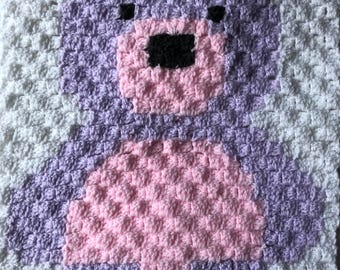 Handmade crochet teddy bear security blanket - Pink & Lilac