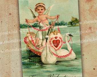 Digital Valentine Postcard INSTANT Download - Cherub Angel In Swan Boat For ATC Aceo Mixed Media Cardmaking Tags Paper Art Crafts PC5PC