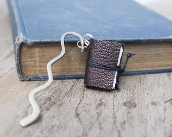 Bookmark book mark, book lover gift, reader gift, literary gift, leather bookmark miniature book charm, book club teacher librarian writer