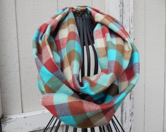 Ready to Ship Turquoise Brown Red Plaid Scarf Brown Plaid Scarf Ladies Jade Plaid Flannel Scarf Girls Plaid Flannel Scarf
