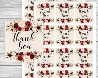 Marsala wedding, floral thank you tag, marsala thank you, boho thank you tags, boho favor tags, boho thank you, tribal favor tags, bohemian