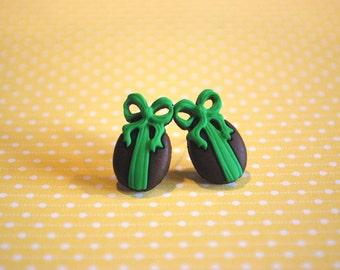 Easter Egg Earrings -- Chocolate Easter Egg Studs, Green Ribbon, Chocolate Earrings