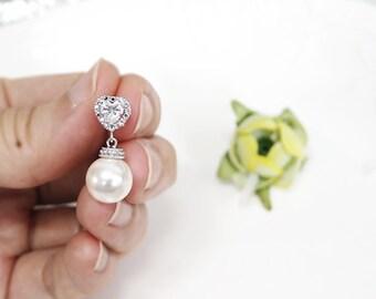 Pearl Earrings, Swarovski Pearl Earrings, cubic zirconia earrings, bridesmaid gift, heart earring