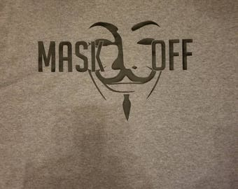 Mask off gray and black t-shirt