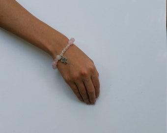 Rose Quartz  Bracelet One decade Rosary Bracelet Beaded Bracelet Rosary One Decade Natural Stone Bracelet