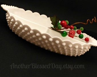 Fenton Milk Glass Hobnail Oval Divided Dish/ Fenton Milk Glass Relish Dish/1950s Fenton Serving Dish