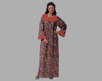 1980 Long caftan pattern Simplicity E.S.P. 5011, Bust 34 - 38, Bell shaped sleeves, Portrait neck opening Gathers hang from the flat yoke