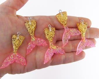 2 Mermaid tail charm, pink and gold, mermaid tail charms, mermaid tails, mermaid tail pendant, resin charms, glittery tail charm, pendants