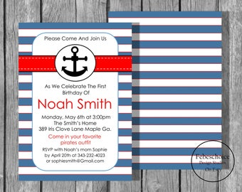 Nautical Birthday Invitation / Cute Nautical Birthday Invite / Anchor Birthday Invite / 1st Birthday Invite / Navy Blue And Red / Printable