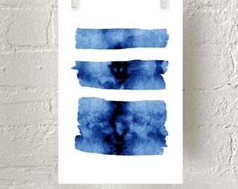 Blue Abstract Watercolor Brushstrokes Stripes Minimalist art Large Wall art Abstract Painting Indigo Navy Wall art Beach Nautical Modern art
