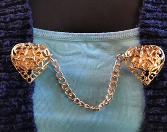 Sweater Clips: Gold Filigree Hearts Set