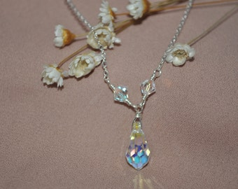 925 Sterling Silver and Swarovski Crystal AB Tear Drop Necklace