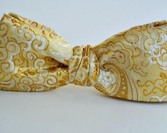 Gold Bow Tie , Mens Bowtie , Groomsmen , Wedding , Brocade Pre-tied Clip-on , Men's Formal Wear , Prom