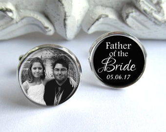 Father of the Bride Cufflinks, Personalized Photo Cufflinks, Father of the Bride Gift