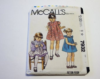 McCall's 7932: Toddlers' and Children's Dress, Pinafore or Sundress and Blue Transfer (1982) UNCUT