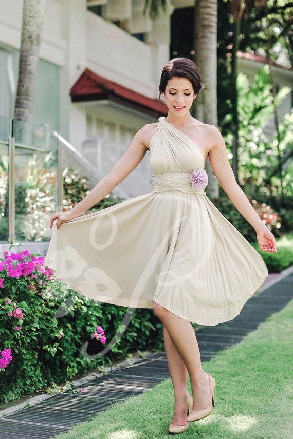 Bridesmaid Dress Infinity Dress Champagne Knee Length Wrap