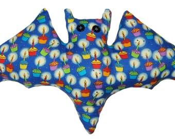 Blue Birthday Bat Pillow