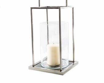 Iron Candle holder with hand made glass vase