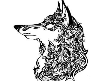 Downloadable Tribal Fox Print