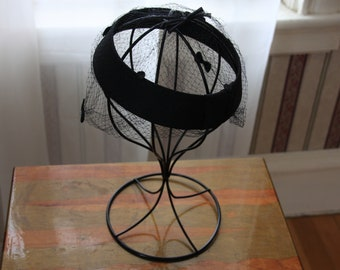 Vintage 1950s Black Pillbox Hat Velvet Bow Smocked Veil Funeral Church Hat Black Bow Chic Black I Love Lucy Union FREE SHIPPING Made in USA