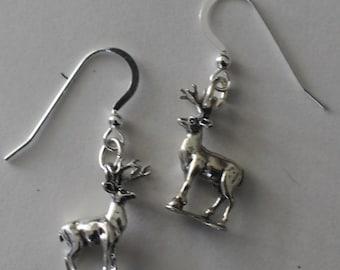 Sterling Silver 3D DEER Earrings - French Earwires - Totem, Wildlife
