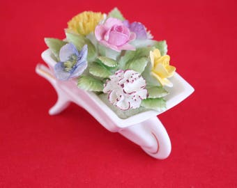 Vintage Royal Adderley Porcelain Home Decor Wheelbarrow Floral Decor Porcelain Flowers English Bone China Vintage Collectible Gift