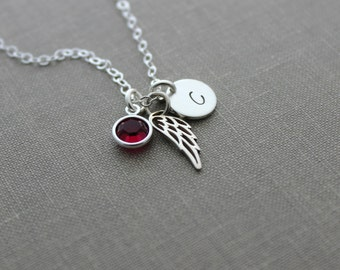 Sterling silver angel wing necklace with Swarovski Crystal Birthstone, Sterling silver Initial disc, Memorial necklace, Loss Necklace