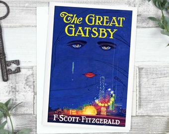 The Great Gatsby Card Book Cover, Literary Gift, F Scott Fitzgerald, 1920s Card