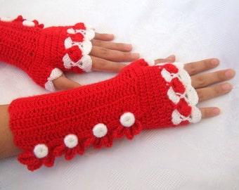 Red and White Color Crochet Fingerless Gloves
