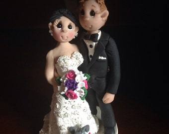 Bride & Groom with Pets Wedding Cake Topper