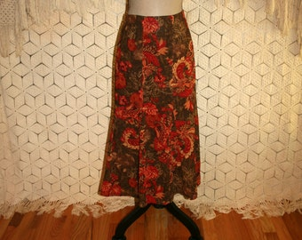 Paisley Floral Boho Skirt Orange Olive Green Print Midi Womens Skirts Flared Skirt Paisley Skirt Floral Skirt Medium Large Womens Clothing