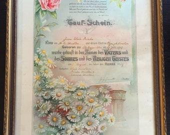 baptism certificate antique frame 1910s baptismal vintage tauf schein